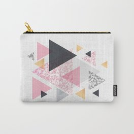 Multi Triangle - Rose Gold and Marble Carry-All Pouch