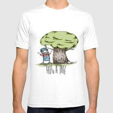 Hug a tree White SMALL Mens Fitted Tee