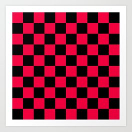 Black and Red Checkerboard Pattern Art Print