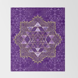 Sri Yantra  / Sri Chakra Gold and Amethyst Throw Blanket