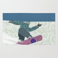 snowboarding Area & Throw Rugs featuring Snowboarding by Aquamarine Studio