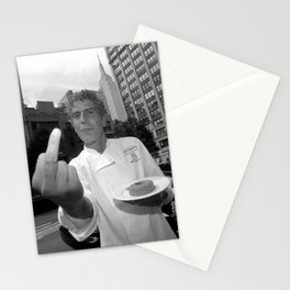 anthony bourdain middle finger Stationery Cards