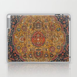 Persian Medallion Rug VI // 16th Century Distressed Red Green Blue Flowery Colorful Ornate Pattern Laptop & iPad Skin