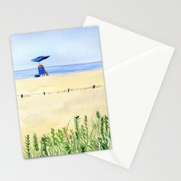 Assateague Island Watercolor Beach Painting Stationery Cards