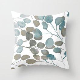 Silver Dollar Watercolor Throw Pillow