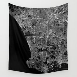 Los Angeles Black Map Wall Tapestry