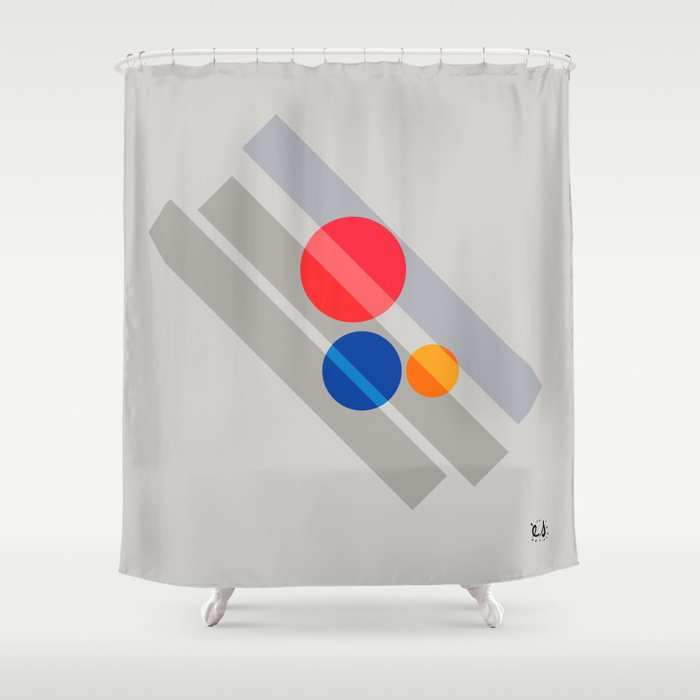 Abstract Suprematism Equilibrium Art Red Blue Yellow Shower Curtain By Emmanuelsignorino
