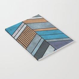 Colorful Concrete Chevron Pattern - Blue, Grey, Brown Notebook