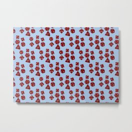 Dice Everywhere - Garnet Red Metal Print