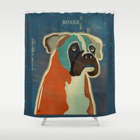 boxer Shower Curtains featuring the boxer by bri.buckley