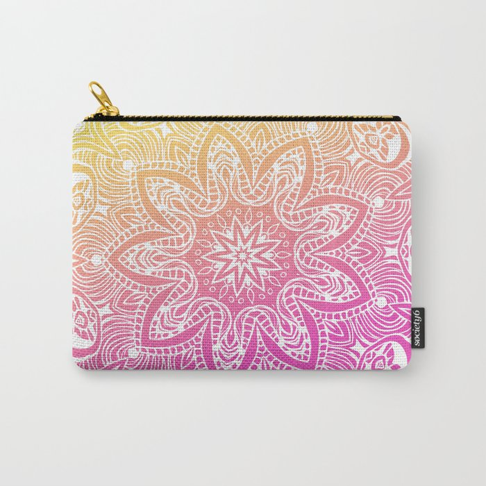 Orange and Pink Mandala Carry-All Pouch