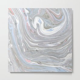 Abstract pink blue gray watercolor marble pattern Metal Print