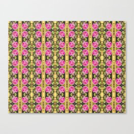Pink roses with golden stripes pattern Canvas Print