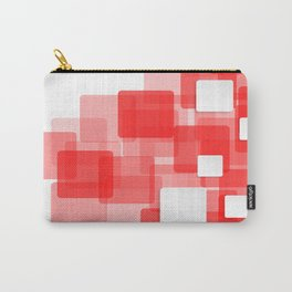 RED AND WHITE SQUARES ON A WHITE BACKGROUND Abstract Art Carry-All Pouch