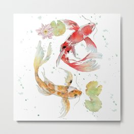 "Watercolor Painting of Picture ""Koi Pond"" Metal Print"