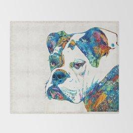 Colorful English Bulldog Art By Sharon Cummings Throw Blanket