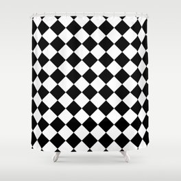 Rhombus (Black & White Pattern) Shower Curtain