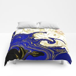 blue ,gold,rose,black,golden fractal, vibrations, circles modern pattern, Comforters