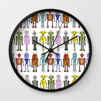 robots Wall Clocks featuring Robots by Annabelle Scott