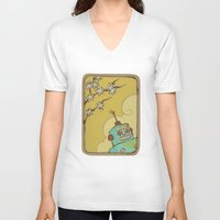 robot V-neck T-shirts featuring Robot by Willow Dawson
