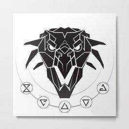 School of the Griffin - Black Metal Print