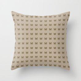 Gold Butterfly Linen Pattern Throw Pillow
