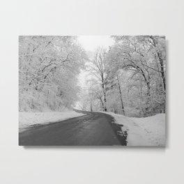 Black and White - Winter roads Metal Print