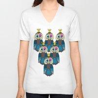 minions V-neck T-shirts featuring Owl Minions  by Gabriel J Galvan