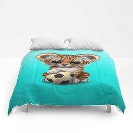 Tiger Cub With Football Soccer Ball Comforters