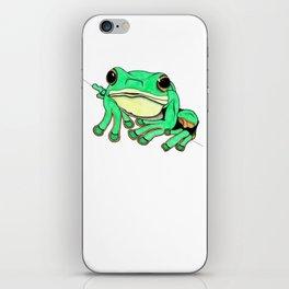 Green tree frog - ink illustration iPhone Skin