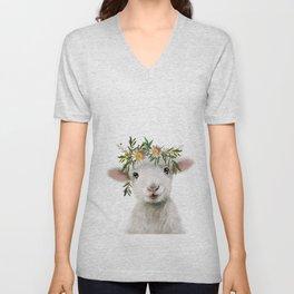 Lamb nursery art Unisex V-Neck