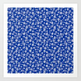 Festive Princess Blue and White Christmas Holiday Snowflakes Art Print