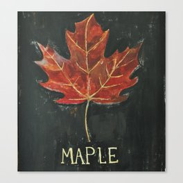 Fall Red Maple Leaf Black Background Canvas Print