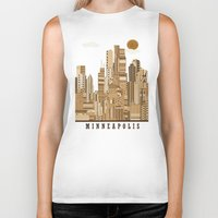 minneapolis Biker Tanks featuring Minneapolis skyline by bri.buckley