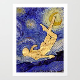 Vincent Van Gogh Starry Night, The Night Traveller, Starry Night With Bright Crescent Moon Painting Art Print