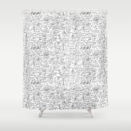 Physics Equations on Whiteboard Shower Curtain