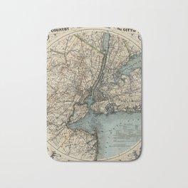 Map of New York 1891 Bath Mat