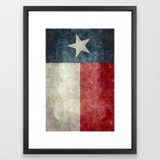 Texas state flag, Vertical retro vintage version  Framed Art Print