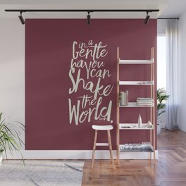 Kindness quote by Mahatma Gandhi, Satyagraha, in a gentle way, you can shake the world, non violence Wall Mural