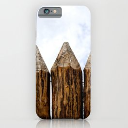 My House Is My Castle. Palisade Fence, Huge Wooden Logs, Cloudy Sky iPhone Case