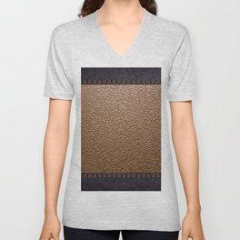 brown leather Unisex V-Neck
