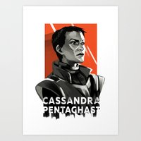 dragon age inquisition Art Prints featuring Dragon Age Inquisition - Cassandra Pentaghast by Deák Dorottya