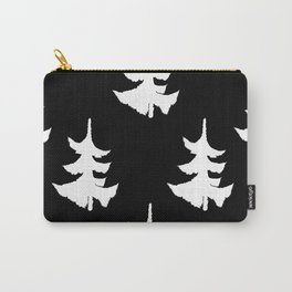 A Gathering of Evergreens in Black and White Carry-All Pouch