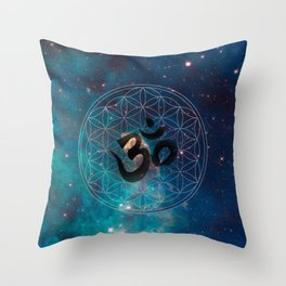 Om & Flower of Life Throw Pillow