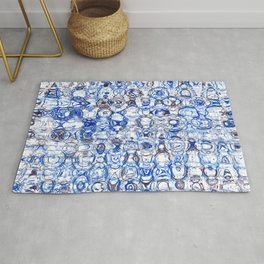 Blue and White Network Rug
