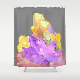 BOHO YELLOW & PURPLE QUARTZ CRYSTALS GREY ART Shower Curtain