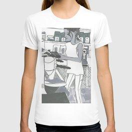 Barista Girl in Greyscale T-shirt