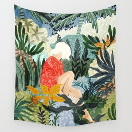 The Distracted Reader, Jungle Tropical Painting, Woman in Red Modern Bohemian Eclectic Wall Tapestry