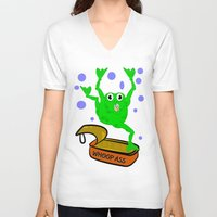 frog V-neck T-shirts featuring Frog by mailboxdisco