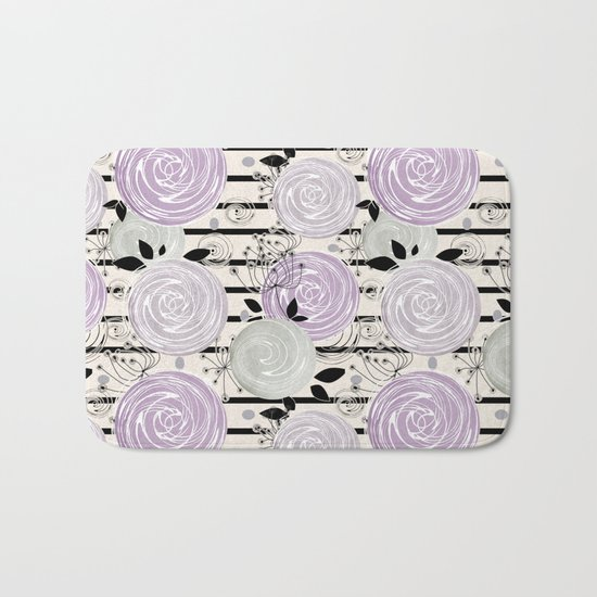 Abstract floral pattern in gray , purple tones Bath Mat